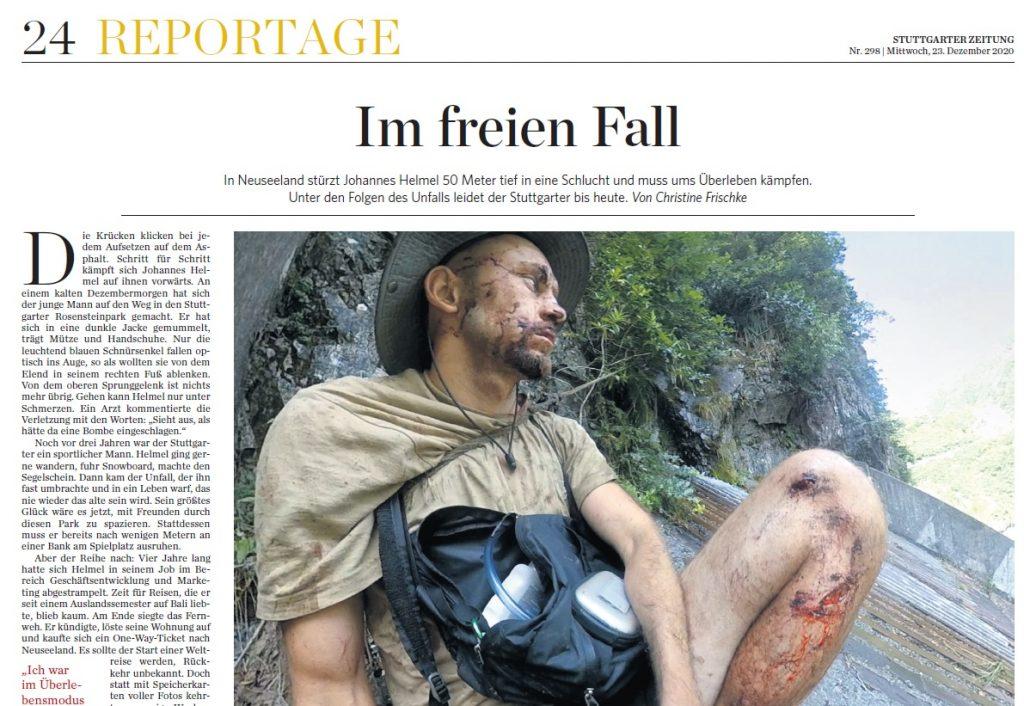 Unfall beim Wandern in Neuseeland. Bild der Zeitungsseite.