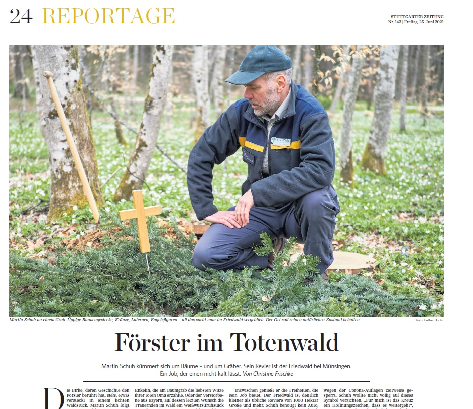 Ausschnitt Zeitungsartikel über den Friedwaldförster Martin Schuh